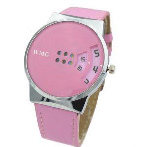 Часы с дисковыми окнами розовые