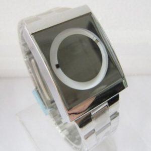 Часы зеркальные с круговой индикацией зеленые