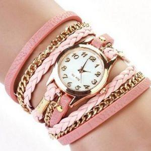 Женские часы с розовым кожаным браслетом