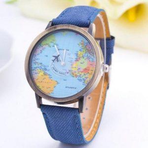 Часы карта с секундной стрелкой самолетом и синим ремешком
