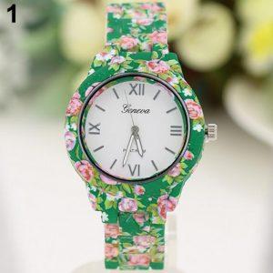 Часы Женева с керамическим зеленым браслетом