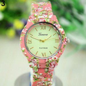 Часы Женева с керамическим розовым браслетом