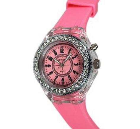 Часы с светодиодной цветной подсветкой розовые