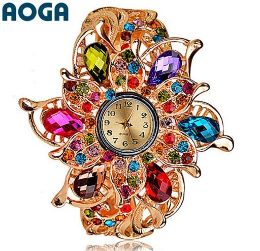 Часы с разноцветными камешками AOGA