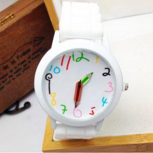Часы с стрелками-карандашами и белым браслетом