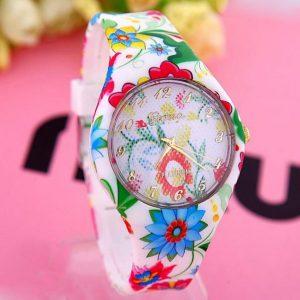 Часы силиконовые с принтом цветы 2