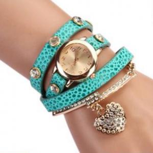 Кожаный браслет с цепочкой синий