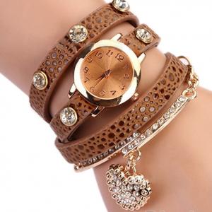 Кожаный браслет с цепочкой коричневый