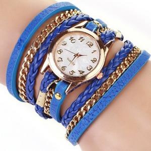 Кожаный браслет с цепочкой темно-синий