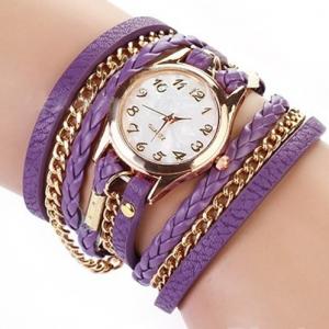 Кожаный браслет с цепочкой фиолетовый
