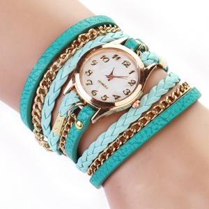 Кожаный браслет с цепочкой голубой