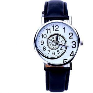 Часы со спиральным циферблатом черные