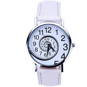 Часы со спиральным циферблатом белые