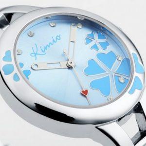 Часы с цветами синие