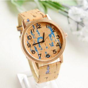 Часы деревянные пробковые синие