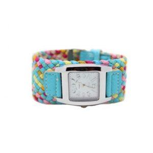 Часы с переплетенным ремнем синие