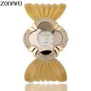 Часы с сетевым браслетом золотистые