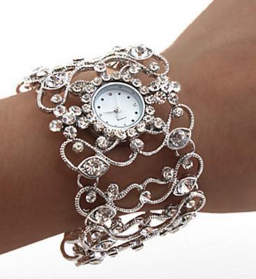 Часы с кружевной сеткой серебристые