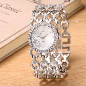 Часы с браслетом сеткой серебристые