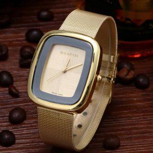 Часы Pin Time квадратные золотистые