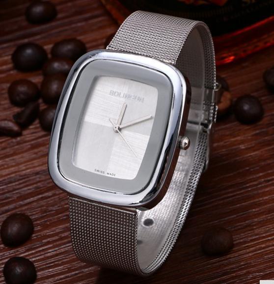 Часы Pin Time квадратный серебристый