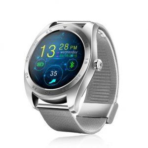 Часы умные с металлическим сеточным браслетом серебристые