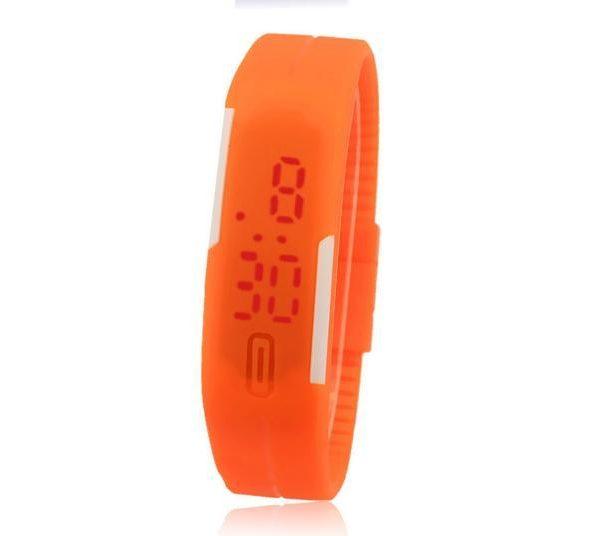 Часы силиконовые браслет оранжевый