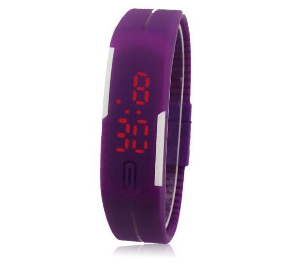 Часы силиконовые браслет фиолетовый