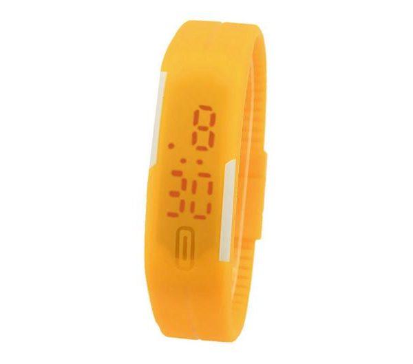 Часы силиконовые браслет желтый