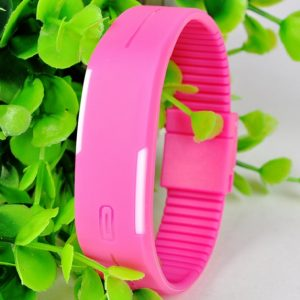 Часы силиконовые браслет розовый