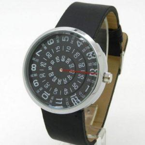 Часы с открытыми дисками круглый черный
