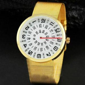 Часы с открытыми дисками круглый золотистый