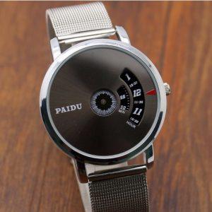 Часы дисковые с полу открытым циферблатом серебристые
