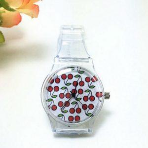 Часы силиконовые с принтом вишня