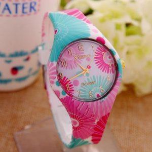 Часы силиконовые с принтом цветы