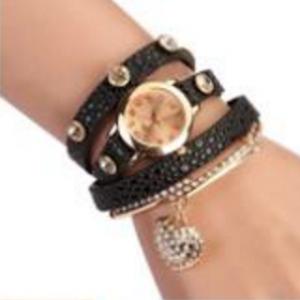 Кожаный браслет с цепочкой черный
