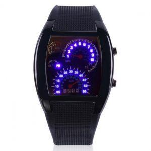 Часы в форме спидометра автомобиля черные