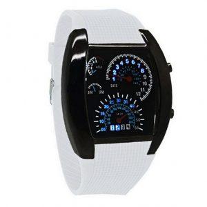 Часы в форме спидометра автомобиля белые