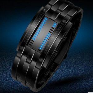 Часы светодиодные бинарные черные