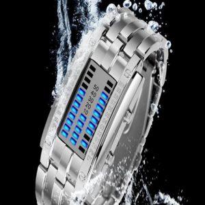 Часы светодиодные бинарные серебристые