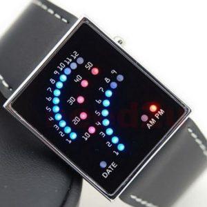 Часы светодиодные с красно-синей индикацией черный