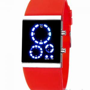 Часы светодиодные квадратные оранжевые