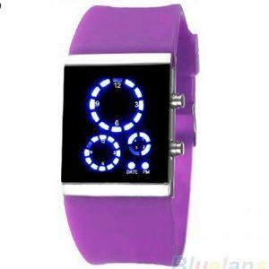 Часы светодиодные квадратные фиолетовые