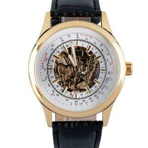 Часы механические скелетон с логарифмической шкалой золотистый