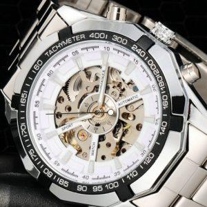 Часы механические скелетон белый