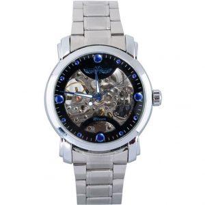 Часы механические скелетон с синими отметками на циферблате