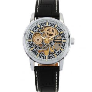 Часы скелетон с ажурным механизмом