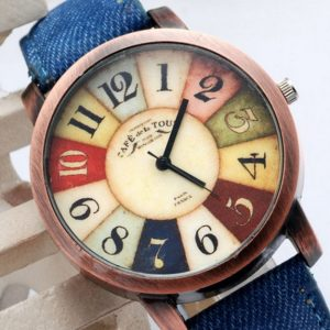 Часы рулетка деревянные с джинсовым ремешком