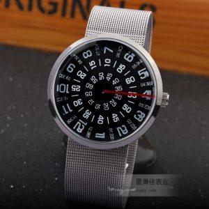 Часы с открытыми дисками круглые черные