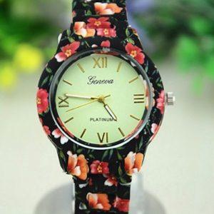 Часы женева с керамическим красным браслетом
